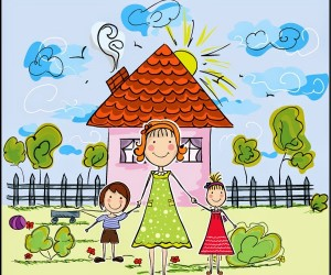 Mom-and-kids-summer-scene
